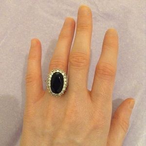 faux sapphire and diamond ring